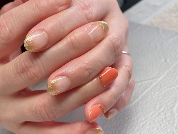 肌色にあうオレンジ×ゴールドサムネイル
